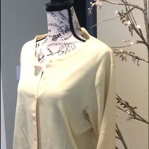 Talbots soft pastel yellow button front  sweater